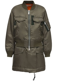 Sacai Layered Nylon Twill Zip-up Short Coat