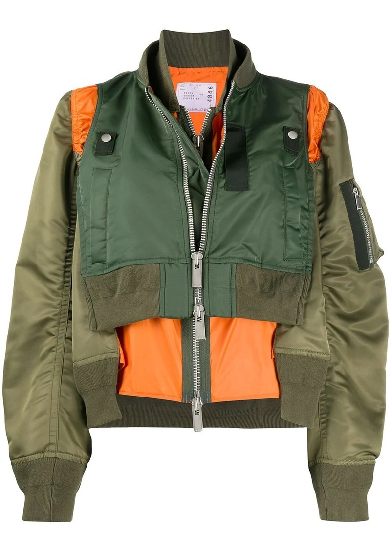 Sacai layered style colour block bomber jacket
