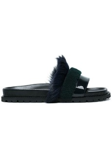 Sacai leather and fur slippers