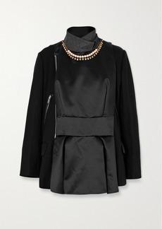 Sacai Leather-trimmed Embellished Paneled Wool And Shell Jacket