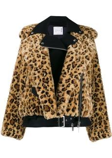 Sacai leopard faux-fur jacket