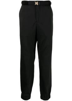 Sacai logo-buckle straight leg trousers