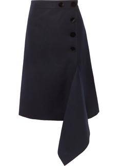 Sacai Melton Asymmetric Button-embellished Wool Skirt