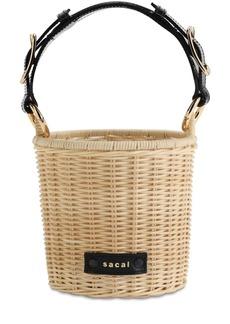 Sacai Micro Rattan Basket Top Handle Bag
