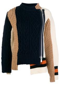 Sacai multi-panel cable-knit jumper