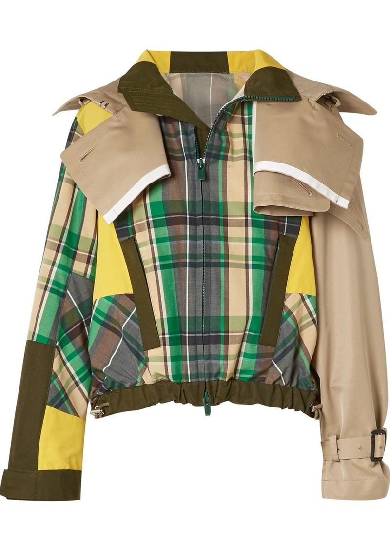 Sacai Oversized Cotton-blend Twill And Checked Poplin Jacket