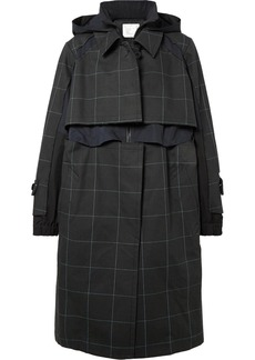 Sacai Oversized Layered Checked Cotton-canvas And Poplin Coat