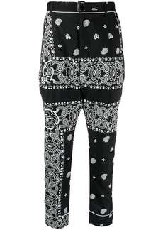 Sacai paisley-print belted trousers