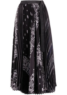 Sacai paisley print pleated skirt