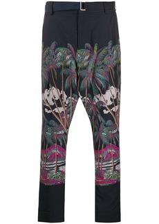 Sacai palm tree print trousers