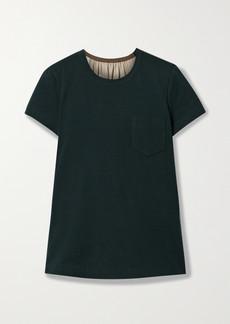 Sacai Paneled Cotton-jersey Printed Satin And Chiffon T-shirt