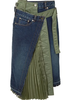 Sacai Paneled Denim And Shell Midi Skirt