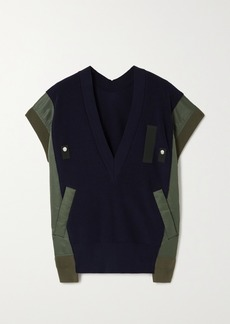 Sacai Paneled Ribbed Cotton-blend And Shell Sweater