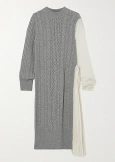 Sacai Paneled Wool And Pleated Crepe De Chine Midi Dress