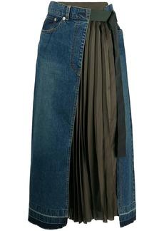 Sacai panelled pleated skirt