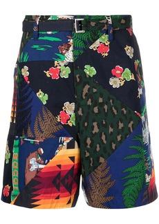 Sacai patchwork print shorts