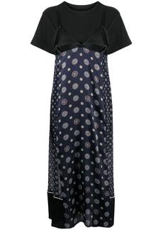 Sacai patchworkd slip cotton dress