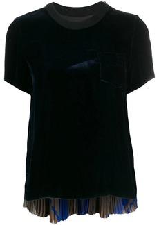 Sacai pleated back velvet T-shirt