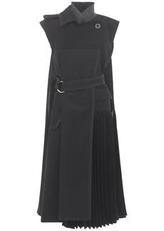 Sacai Pleated Cotton Blend Dress W/ Belt