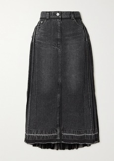 Sacai Pleated Denim And Chiffon Midi Skirt