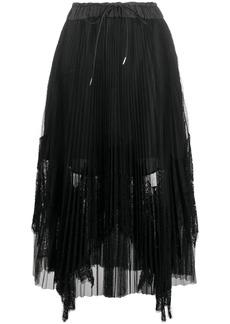 Sacai pleated lace panel skirt