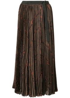Sacai pleated paisley print skirt