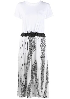 Sacai pleated short-sleeved T-shirt dress