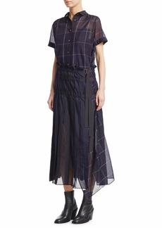 Sacai Random Stripe Organza Shirt Dress