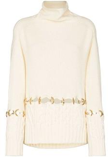 Sacai ring-detail wool jumper