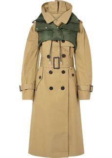 Sacai Ripstop-trimmed Cotton-gabardine Trench Coat
