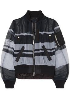 Sacai Ruched Printed Chiffon Bomber Jacket