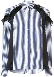 Sacai ruffle detail striped shirt