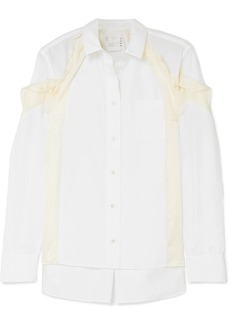 Sacai Ruffled Satin-paneled Poplin Shirt