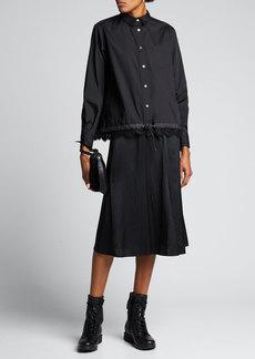 SACAI Button-Front Boxy Striped Poplin Shirt w/ Lace Hem