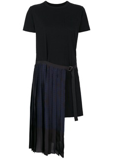 Sacai combined T-shirt dress - Black