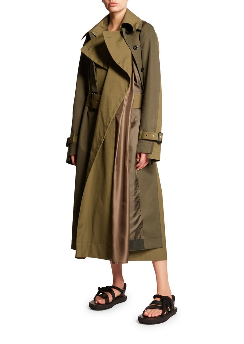 SACAI Double-Breasted Double Layer Coat