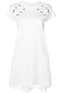 Sacai eyelet laced T-shirt dress - White