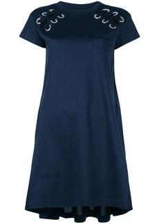 Sacai laced shoulder T-shirt dress - Blue