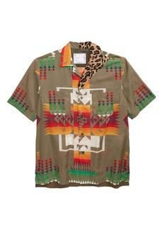 Sacai x Pendleton Men's Archive Mixed Print Short Sleeve Button-Up Shirt