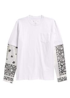 Sacai Men's Archive Print Mixed Media Layered T-Shirt