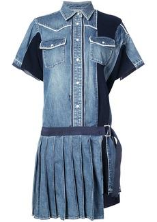 Sacai pleated denim shirt dress - Blue