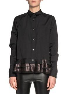 SACAI Ruffled Ribbon-Hem Button-Front Shirt