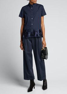 SACAI Short-Sleeve Button-Down Ruffled-Hem Shirt