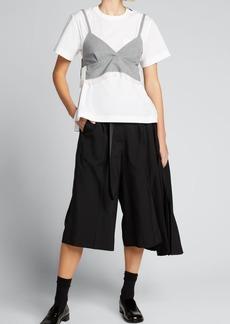 SACAI Short-Sleeve Poplin Top w/ Removable Bra