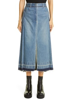 Sacai Split Pleated Denim Skirt