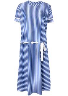 Sacai striped lace-waist shirt dress - Blue