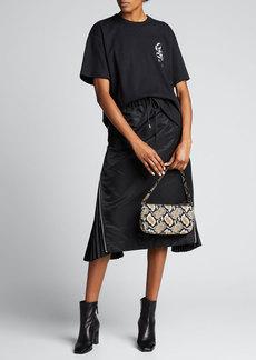 SACAI Taffeta Zip-Pleated Midi Skirt