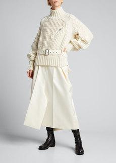 SACAI Turtleneck Wool Belted Sweater
