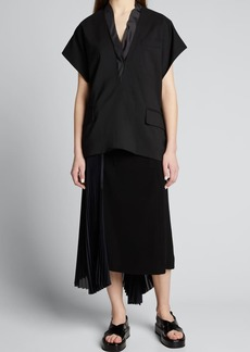 SACAI Wide-Cut V-Neck Suiting Top