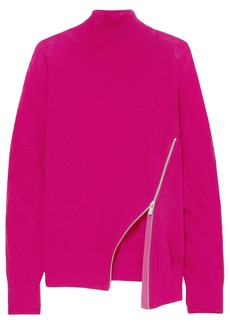 Sacai Woman Zip-detailed Wool Turtleneck Sweater Fuchsia